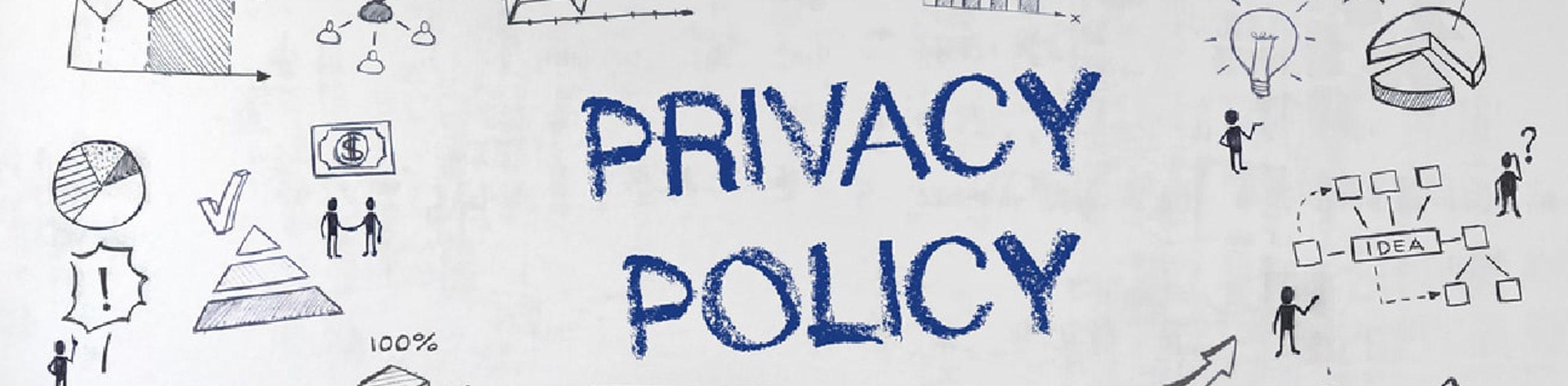 壁に描かれた壁画とprivacypolicyの文字