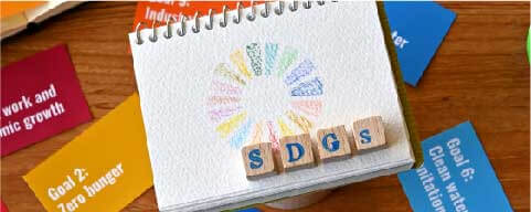 SDGSと書いてある積み木